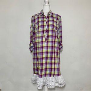 Columbia Plaid Cottagecore Lace Hem Shirt Dress 16